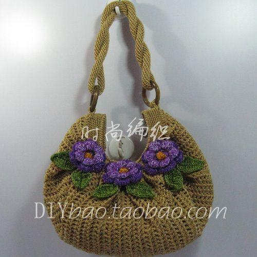金驼色麻花带月牙包(紫色编织花) 钩包线 编织包 钩编