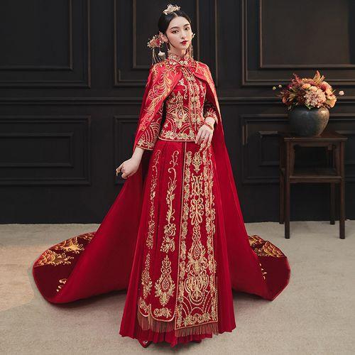 披风秀禾服2021新款结婚新娘服中式婚纱凤冠霞帔拖尾