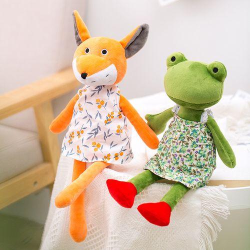 北欧新款可爱动物穿裙子陪睡公仔狐狸青蛙毛绒玩偶