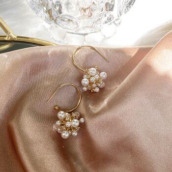 嫚纤 温柔慵懒s925银针珍珠锆石花团耳环气质法式复古感小众耳饰女 一
