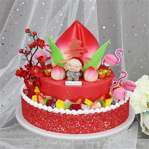 双层寿桃仿真蛋糕模型2021新款祝寿假蛋糕模型样品可