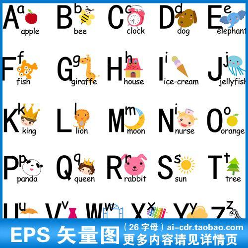 可爱宝宝识图认英文字母婴幼儿童卡通英语单词爬爬垫矢量素材a185
