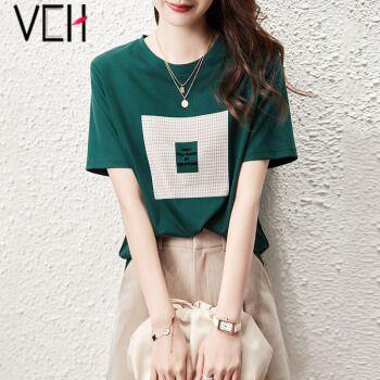 vch短袖t恤女2021夏季新款韩版时尚字母印花圆领女上衣休闲百搭减龄