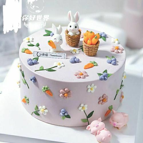 小兔子蛋糕装饰 田园风格 胡萝卜兔子 小白兔摆件儿童