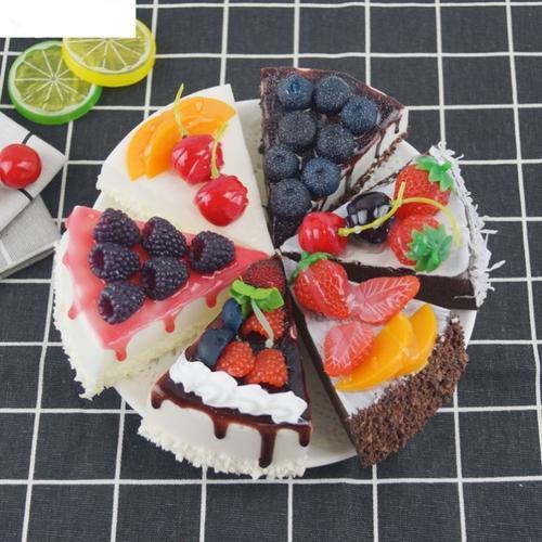 草莓蛋糕模型三角形假糕点模型橱窗装饰品拍摄道具生日会婚礼摆件