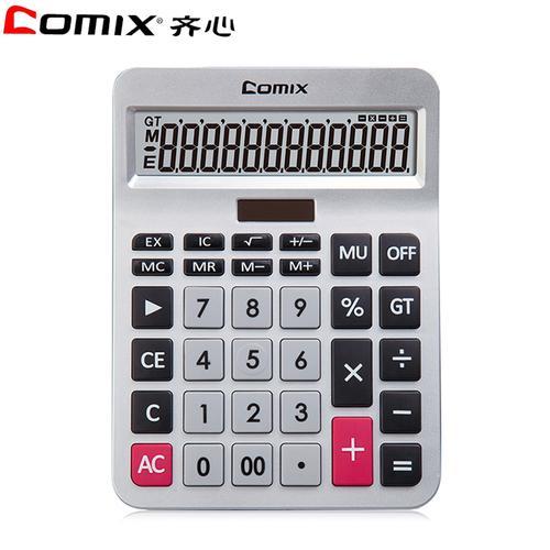 齐心(comix)ka-8128双电源桌面计算器 银色 12位数显大屏太阳能计算器