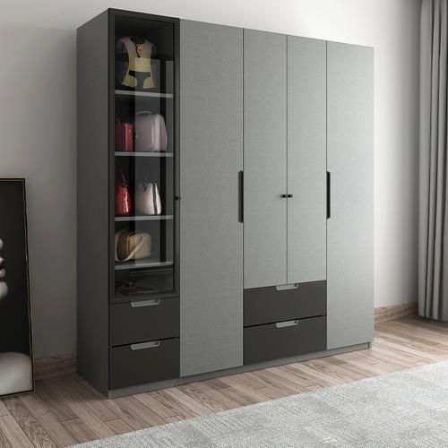 木月 衣柜 北欧平开门衣柜二三四门布纹色大衣柜组合