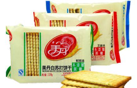 美丹  无蔗糖白苏打饼干  芝麻味/鲜葱味/蔬菜味  118