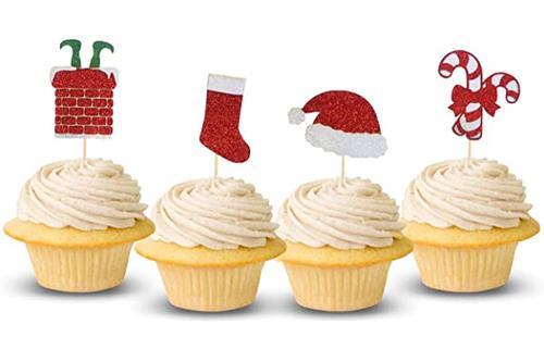 圣诞快乐纸杯蛋糕装饰圣诞老人帽糖果拐杖圣诞节图案