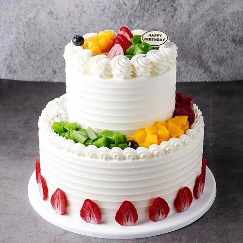 双层欧式水果蛋糕模型2021新款网红生日假蛋糕塑胶样品