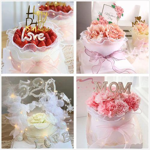 520节母亲节告白蛋糕装饰仿真玫瑰花摆件纱花束蛋糕围边插件