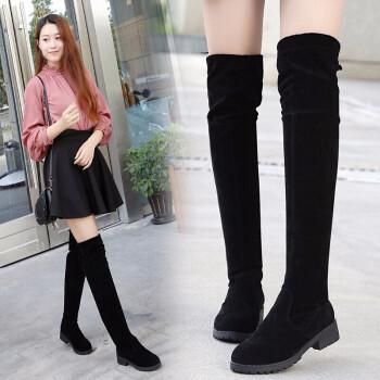 艾斯特尔冬季过膝长靴女瘦腿弹力女生平底加绒骑士靴子新款女士鞋潮流