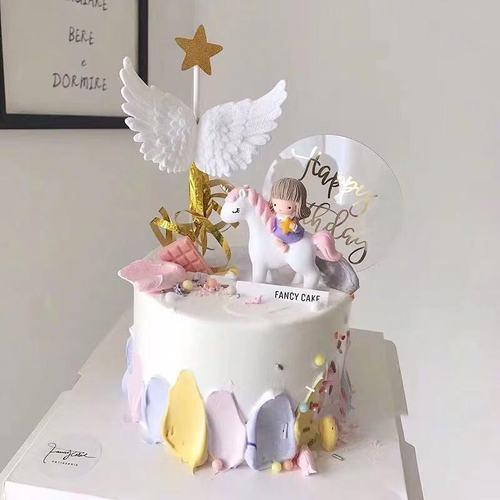 骑马小女孩蛋糕装饰独角兽周岁生日摆件木马天使翅膀