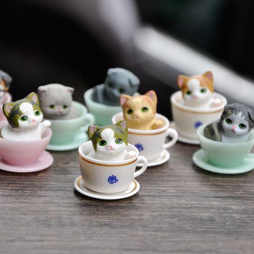 可爱迷你茶杯猫咪公仔咖啡杯子猫咪玩偶盲盒摆件桌面蛋糕装饰玩具