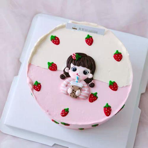软陶可爱奶茶女孩小男孩弟弟儿童生日派对蛋糕装饰摆件小情侣插件