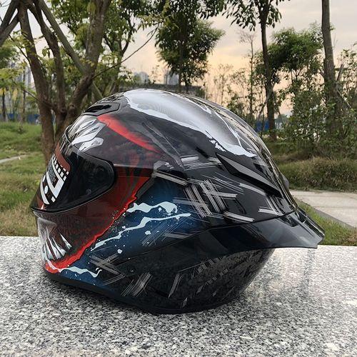 赛车全盔男女士帽机车冬头盔摩托车四季覆式带加长大尾翼个性