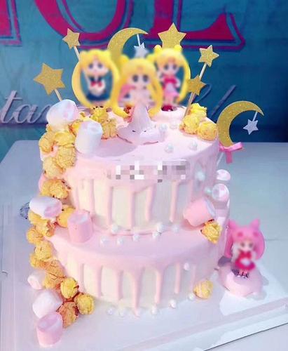 生日蛋糕装饰摆件可爱女孩小号4件套儿童生日蛋糕女孩