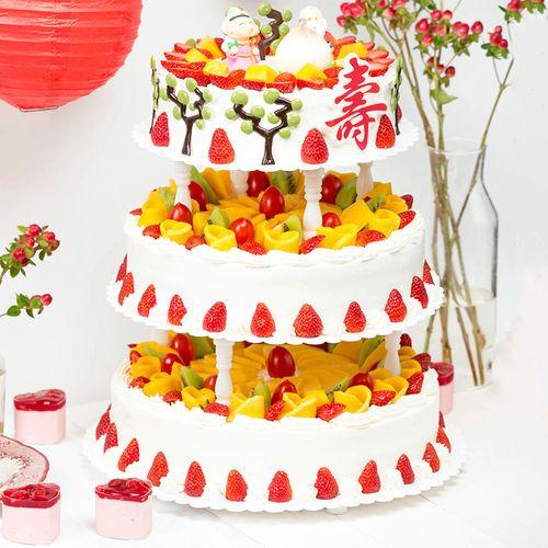 【寿比南山,15磅三层大蛋糕】适合30-40人食用,祝寿蛋糕(大连)