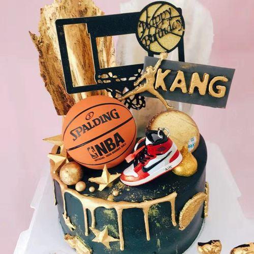 篮球鞋篮球蛋糕装饰摆件迷你篮球鞋模型灌蓝高手男神
