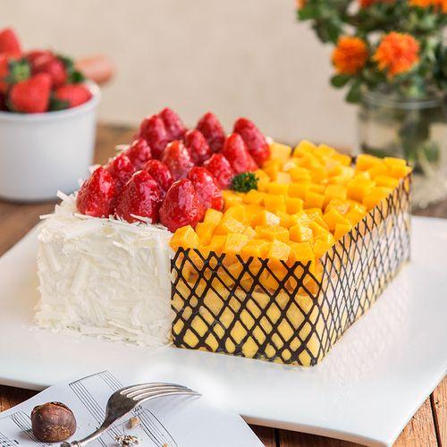 【一半是芒果慕斯 一半是草莓慕斯】两情相悦蛋糕/榴莲香雪2选1-2磅
