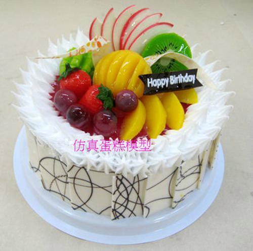 仿真网红塑胶水果菠萝草莓奶油巧克力生日蛋糕模型
