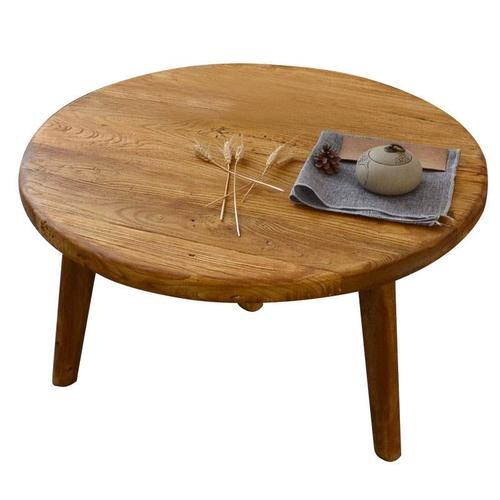 老榆木旧木板茶桌家用小茶台实木圆桌茶几老木板书桌