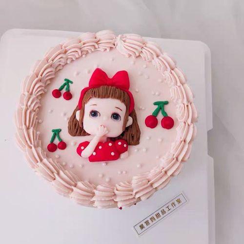 网红烘焙蛋糕装饰小女孩卡通可爱软陶生日蛋糕装饰小