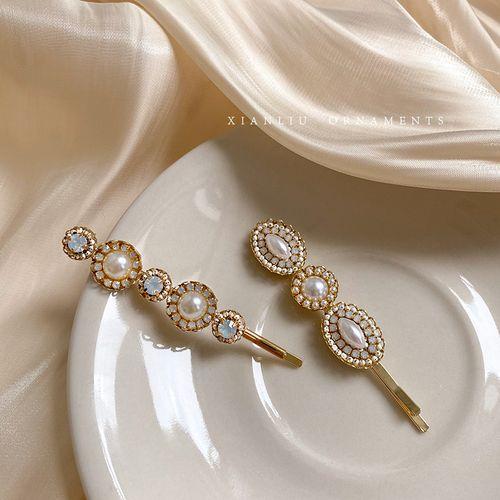 韩国优雅水钻珍珠一字发夹边夹少女法式复古气质发卡