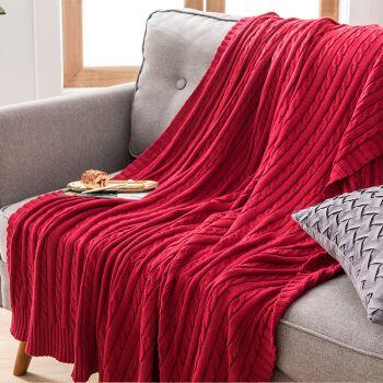 毯毛巾被学生教室午睡毯线毯床上铺的薄毛毯暖腿 酒红色-全棉针织毯