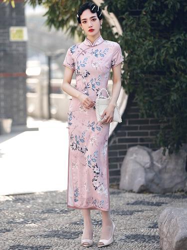旗袍2021年新款女中国风优雅长款复古气质走秀宴会八