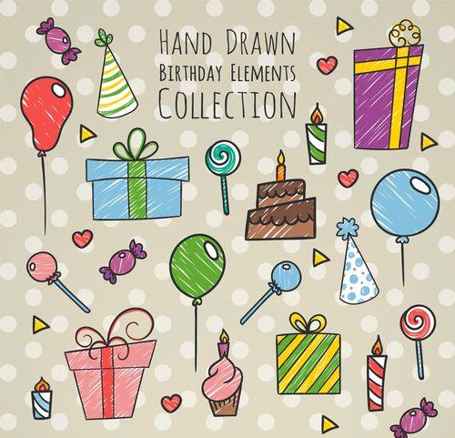手绘生日元素生日帽大礼包糖果气球设计素材矢量图库