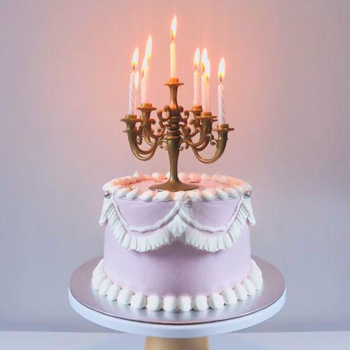 生日蛋糕装饰蜡烛插件网红复古欧式古铜色小蜡烛台
