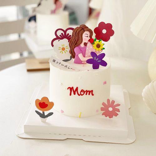 母亲节蛋糕装饰插牌网红妈妈母亲鲜花蛋糕插件可爱花朵小红花套装