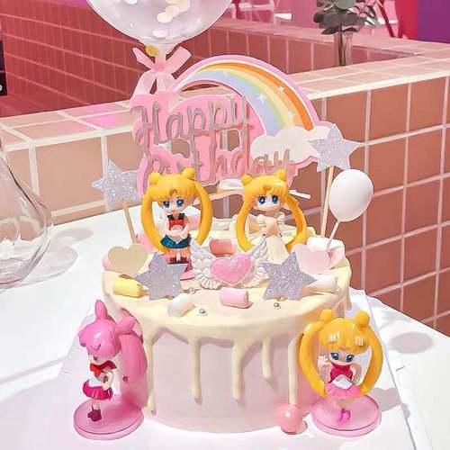 新【特惠10套装】儿童节网红女美少女战士公主生日蛋糕装饰摆件插