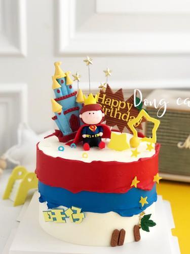 蛋糕装饰小超人皇冠软陶可爱小王子生日蛋糕装饰男生卡通蛋糕装扮