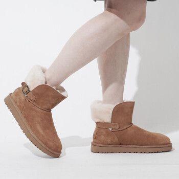 ugg雪地靴 2020秋冬女士雪地靴冬季平底舒适保暖套筒搭扣短靴女靴