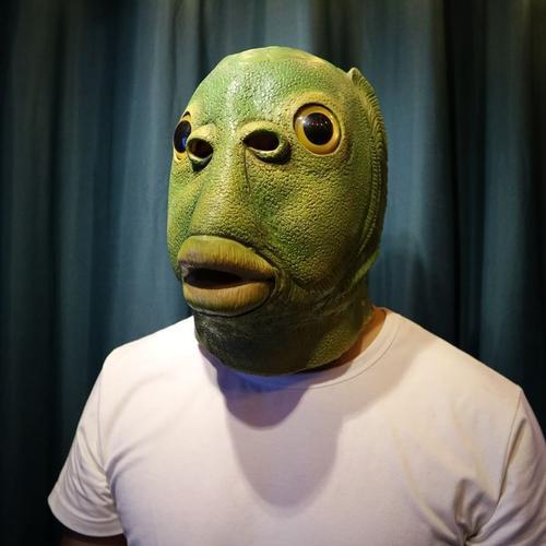 绿头鱼头套人鱼头套外星人头套绿鱼人头套可爱面具1