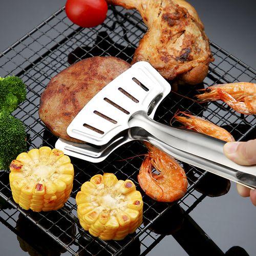 不锈钢食品夹子牛排烘焙烧烤油炸厨房专用夹煎鱼铲家用神器翻鱼铲