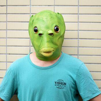 抖音绿鱼人头套怪怪鱼面具鱼头怪头套面具绿鱼头套绿鱼人面具搞笑绿