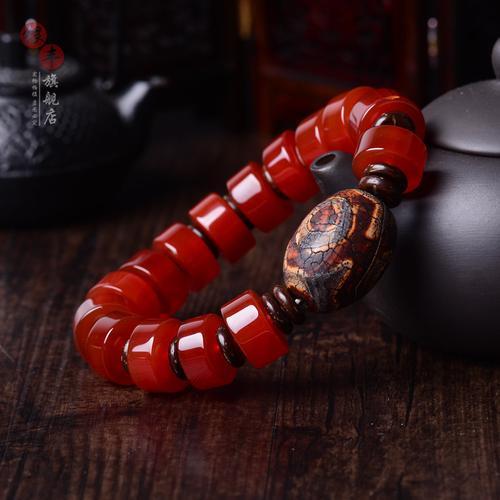 天然红玛瑙手链 男手串天眼天珠手饰品缠丝蚕丝狗本命