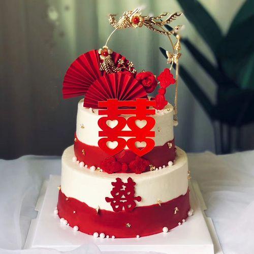 订婚蛋糕装饰插件结婚情侣新人烘焙摆件网红中国风式