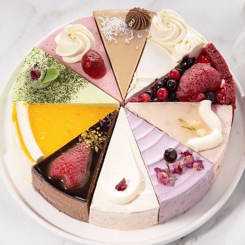 蜜芒 淡奶油十拼慕斯蛋糕 850g 10块 8寸 十种混合口味 生日蛋糕 网红