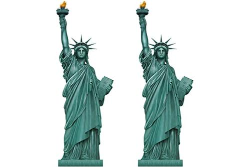 beistle 53694 自由女神雕像剪裁 2 件纽约城市派对装饰,5 英尺,*