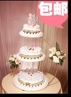 欧式铁艺三层点心架 蛋糕架 婚庆糕点架 蛋糕模型道具