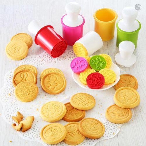 圣诞节摇摇乐饼干模具节曲奇印花压模烘焙蛋糕磨具6件套.