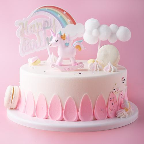 粉色小马独角兽生日蛋糕模型仿真2019新款 塑胶假蛋糕