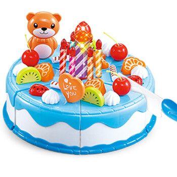 过家家生日蛋糕玩具儿童厨房玩具仿真水果蔬菜切切乐北美玩具手推车小