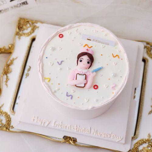 护士节蛋糕装饰摆件软陶护士女士白衣天使人偶生日