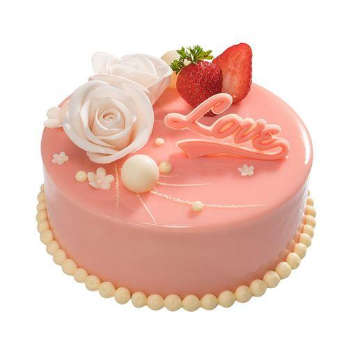 味多美 生日蛋糕同城配送 店送 奶油蛋糕 爱的花语蛋糕 巧克力味