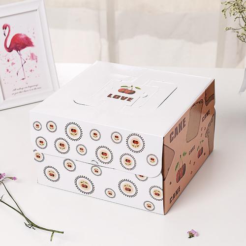 现货方形樱桃手提折叠生日蛋糕包装盒彩色印刷瓦楞